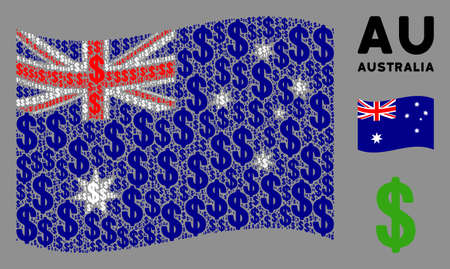 Waving Australia state flag. Vector dollar icons are arranged into mosaic Australia flag composition. Patriotic composition designed of flat dollar icons.