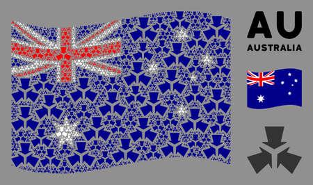Waving Australia flag. Vector shrink arrows design elements are scattered into conceptual Australia flag composition. Patriotic concept done of flat shrink arrows design elements.