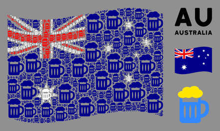 Waving Australia flag. Vector beer glass pictograms are combined into conceptual Australia flag collage. Patriotic collage created of flat beer glass design elements. 向量圖像
