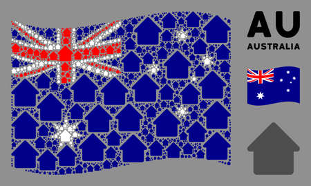 Waving Australia official flag. Vector cabin pictograms are formed into geometric Australia flag illustration. Patriotic illustration constructed of flat cabin pictograms.