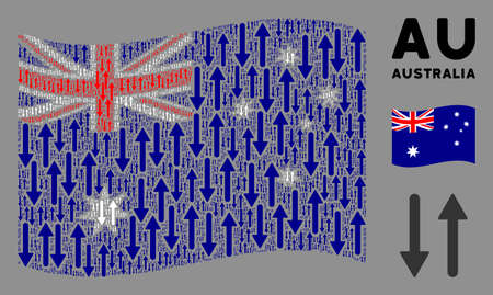 Waving Australia state flag. Vector exchange arrows pictograms are scattered into conceptual Australia flag collage. Patriotic collage created of flat exchange arrows pictograms.