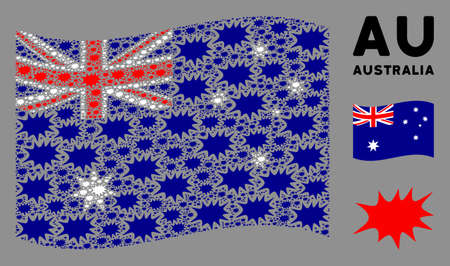 Waving Australia official flag. Vector boom bang design elements are organized into conceptual Australia flag composition. Patriotic collage composed of flat boom bang design elements.