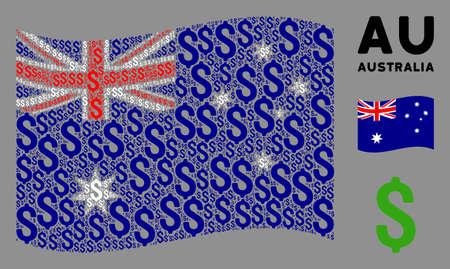 Waving Australia flag. Vector dollar design elements are combined into mosaic Australia flag illustration. Patriotic illustration done of flat dollar design elements.