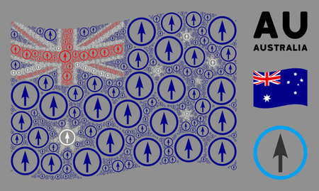 Waving Australia flag. Vector sharp rounded arrow pictograms are formed into conceptual Australia flag composition. Patriotic collage done of flat sharp rounded arrow pictograms. Ilustração