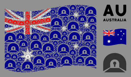Waving Australia official flag. Vector private tunnel elements are formed into conceptual Australia flag illustration. Patriotic illustration designed of flat private tunnel design elements.