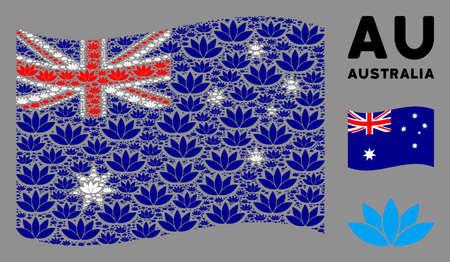 Waving Australia official flag. Vector lotus flower elements are organized into mosaic Australia flag composition. Patriotic composition combined of flat lotus flower design elements.