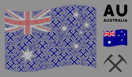 Waving Australia state flag. Vector mining hammers icons are grouped into mosaic Australia flag illustration. Patriotic illustration organized of flat mining hammers icons.