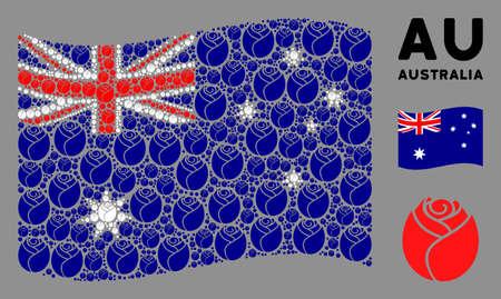 Waving Australia official flag. Vector rose button design elements are arranged into mosaic Australia flag collage. Patriotic composition organized of flat rose button design elements.