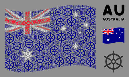 Waving Australia official flag. Vector boat steering wheel pictograms are placed into conceptual Australia flag composition. Patriotic composition designed of flat boat steering wheel design elements.
