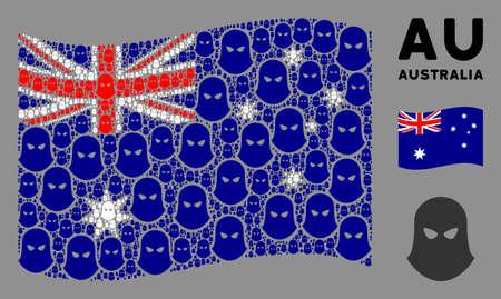 Waving Australia official flag. Vector terrorist balaklava design elements are scattered into geometric Australia flag collage. Patriotic collage done of flat terrorist balaklava elements.