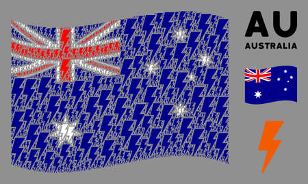 Waving Australia flag. Vector electric strike design elements are scattered into conceptual Australia flag illustration. Patriotic illustration constructed of flat electric strike elements. Illusztráció