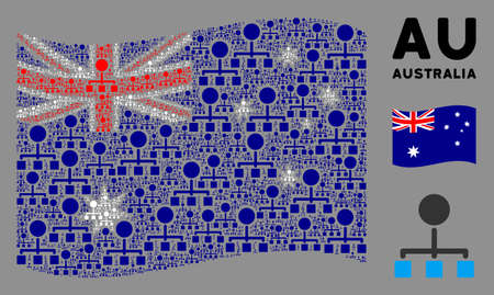 Waving Australia official flag. Vector hierarchy design elements are scattered into conceptual Australia flag illustration. Patriotic illustration designed of flat hierarchy design elements.