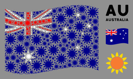 Waving Australia state flag. Vector sun elements are combined into mosaic Australia flag illustration. Patriotic composition combined of flat sun design elements.