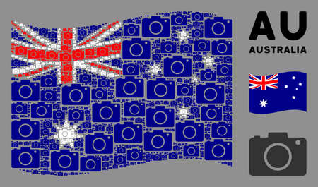Waving Australia state flag. Vector photo camera design elements are grouped into conceptual Australia flag collage. Patriotic concept created of flat photo camera design elements.
