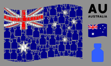 Waving Australia official flag. Vector bottle design elements are grouped into mosaic Australia flag collage. Patriotic concept combined of flat bottle design elements. 向量圖像