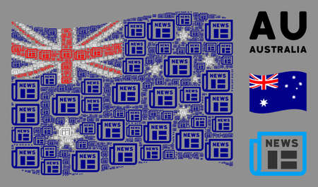 Waving Australia flag. Vector newspaper design elements are grouped into mosaic Australia flag collage. Patriotic illustration combined of flat newspaper design elements.