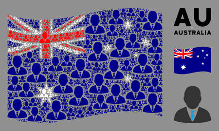 Waving Australia flag. Vector boss design elements are grouped into mosaic Australia flag abstraction. Patriotic composition designed of flat boss design elements. Illustration