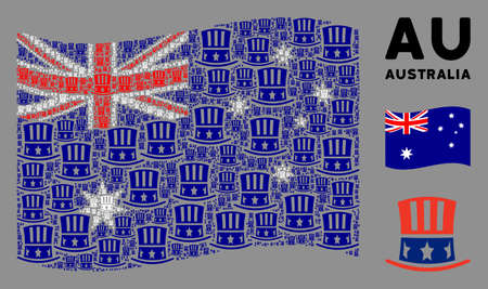 Waving Australia official flag. Vector Uncle Sam hat design elements are combined into mosaic Australia flag abstraction. Patriotic illustration combined of flat Uncle Sam hat design elements.