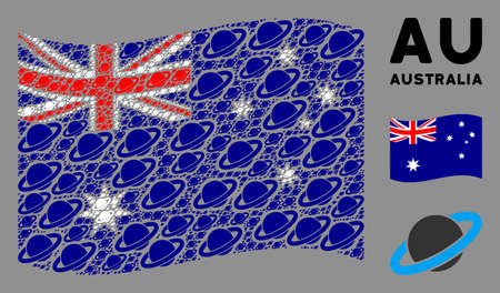 Waving Australia official flag. Vector planet Saturn elements are combined into geometric Australia flag composition. Patriotic illustration combined of flat planet Saturn elements. Illusztráció