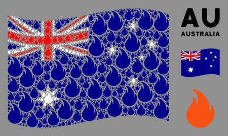 Waving Australia state flag. Vector fire flame items are organized into conceptual Australia flag abstraction. Patriotic illustration organized of flat fire flame elements. Illustration