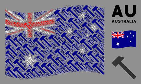 Waving Australia flag. Vector hammer design elements are grouped into mosaic Australia flag illustration. Patriotic concept composed of flat hammer design elements.