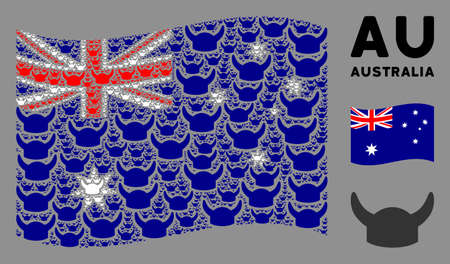 Waving Australia flag. Vector horned helmet elements are organized into conceptual Australia flag illustration. Patriotic illustration done of flat horned helmet elements.  イラスト・ベクター素材