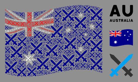 Waving Australia state flag. Vector crossing swords icons are united into conceptual Australia flag illustration. Patriotic illustration organized of flat crossing swords elements.