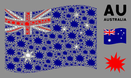 Waving Australia official flag. Vector bang elements are placed into conceptual Australia flag composition. Patriotic composition organized of flat bang elements.