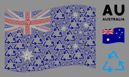 Waving Australia official flag. Vector recycle triangle design elements are combined into mosaic Australia flag abstraction. Patriotic concept created of flat recycle triangle elements. Stock fotó - 132166375