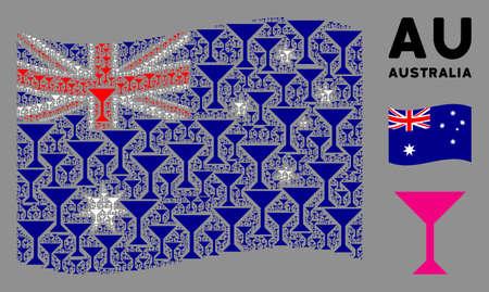 Waving Australia flag. Vector martini glass design elements are organized into mosaic Australia flag collage. Patriotic collage created of flat martini glass design elements.