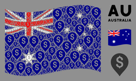 Waving Australia flag. Vector banking map marker elements are grouped into geometric Australia flag composition. Patriotic composition constructed of flat banking map marker design elements. Çizim
