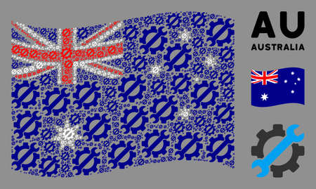 Waving Australia state flag. Vector service tools icons are organized into geometric Australia flag collage. Patriotic collage designed of flat service tools pictograms.