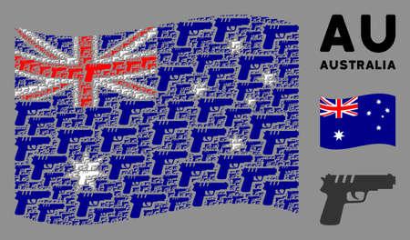Waving Australia state flag. Vector pistol gun design elements are combined into geometric Australia flag illustration. Patriotic composition designed of flat pistol gun design elements. Çizim