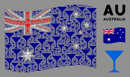 Waving Australia official flag. Vector alcohol glass icons are scattered into conceptual Australia flag abstraction. Patriotic composition designed of flat alcohol glass icons.