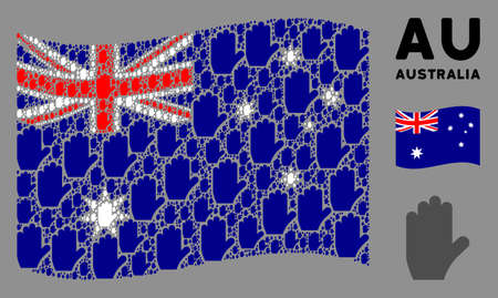 Waving Australia state flag. Vector voting hand elements are combined into geometric Australia flag illustration. Patriotic illustration composed of flat voting hand design elements. Illusztráció