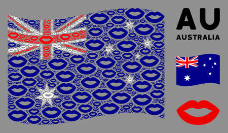 Waving Australia flag. Vector sexy lips elements are placed into mosaic Australia flag composition. Patriotic composition combined of flat sexy lips design elements.  イラスト・ベクター素材