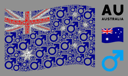 Waving Australia official flag. Vector Mars symbol elements are grouped into geometric Australia flag abstraction. Patriotic concept created of flat Mars symbol elements.