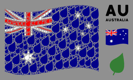 Waving Australia official flag. Vector plant leaf pictograms are grouped into conceptual Australia flag collage. Patriotic illustration combined of flat plant leaf pictograms.
