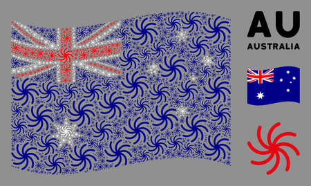 Waving Australia flag. Vector spiral galaxy design elements are grouped into mosaic Australia flag composition. Patriotic collage created of flat spiral galaxy design elements.