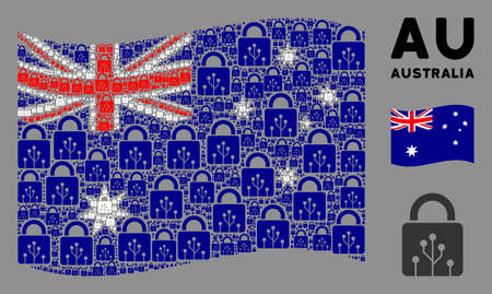 Waving Australia official flag. Vector circuit lock icons are formed into conceptual Australia flag collage. Patriotic concept created of flat circuit lock icons.
