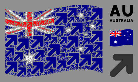 Waving Australia flag. Vector arrow up right icons are arranged into mosaic Australia flag composition. Patriotic composition designed of flat arrow up right icons. Banco de Imagens - 132171659