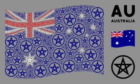 Waving Australia flag. Vector star pentacle design elements are arranged into conceptual Australia flag illustration. Patriotic collage constructed of flat star pentacle design elements.