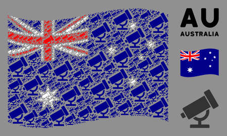 Waving Australia flag. Vector telescope elements are arranged into mosaic Australia flag collage. Patriotic collage combined of flat telescope design elements.