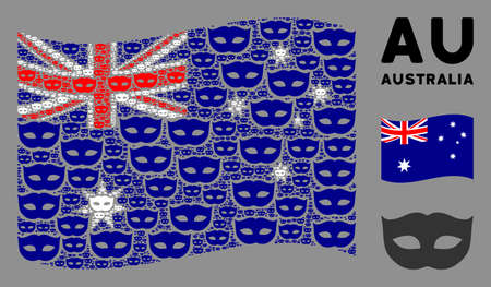 Waving Australia official flag. Vector privacy mask design elements are united into geometric Australia flag illustration. Patriotic collage done of flat privacy mask design elements. Ilustração