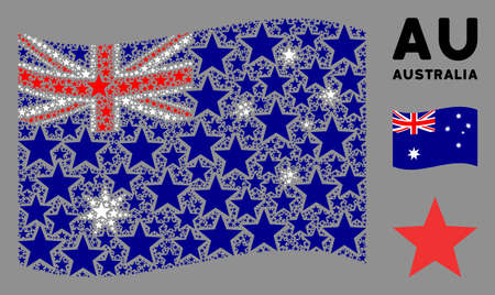 Waving Australia state flag. Vector fireworks star pictograms are combined into mosaic Australia flag abstraction. Patriotic illustration combined of flat fireworks star pictograms.