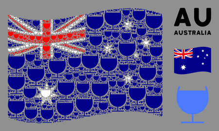 Waving Australia state flag. Vector alcohol glass design elements are grouped into mosaic Australia flag composition. Patriotic composition composed of flat alcohol glass elements. Иллюстрация