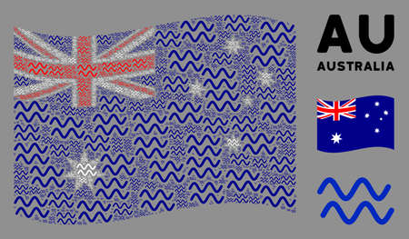 Waving Australia official flag. Vector sinusoid waves elements are scattered into conceptual Australia flag composition. Patriotic composition created of flat sinusoid waves design elements.