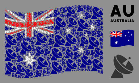 Waving Australia state flag. Vector radio telescope design elements are formed into conceptual Australia flag illustration. Patriotic concept organized of flat radio telescope design elements.