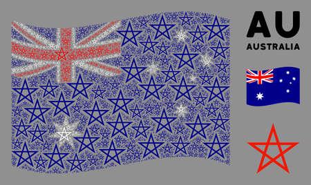 Waving Australia state flag. Vector star pentagram design elements are formed into mosaic Australia flag composition. Patriotic composition created of flat star pentagram elements.