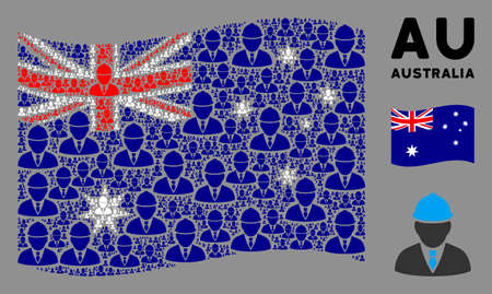 Waving Australia state flag. Vector engineer pictograms are combined into conceptual Australia flag collage. Patriotic collage combined of flat engineer elements.